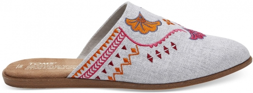 Toms TOMS Embroidered Drizzle Grey Chambray Women's Jutti Mules Shoes - Size UK4.5 / US 6.5 Mules