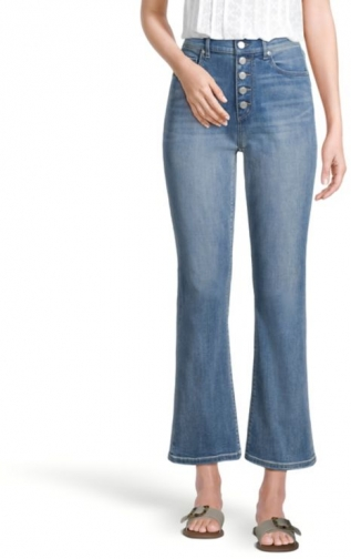 Loft Button Front High Rise Flare Crop Canyon Sky Blue Wash Jeans