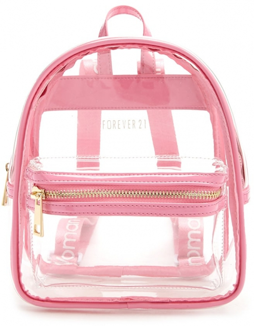 Forever21 Forever 21 Faux Patent Leather Trim , Pink Backpack