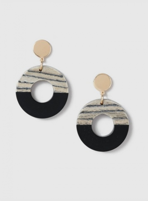 Dorothy Perkins Brown Wood Drop Earring