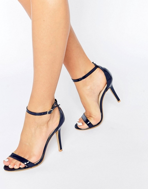 Glamorous Navy Patent Two Part Heeled Sandal
