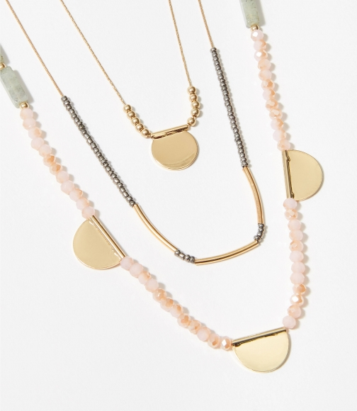 Loft Beaded Disc Layered Necklace