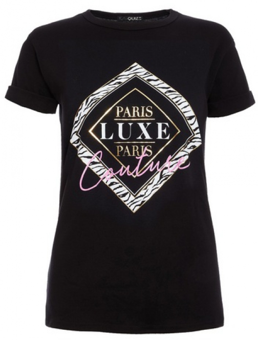 Quiz Black 'Paris Luxe' Slogan T-Shirt