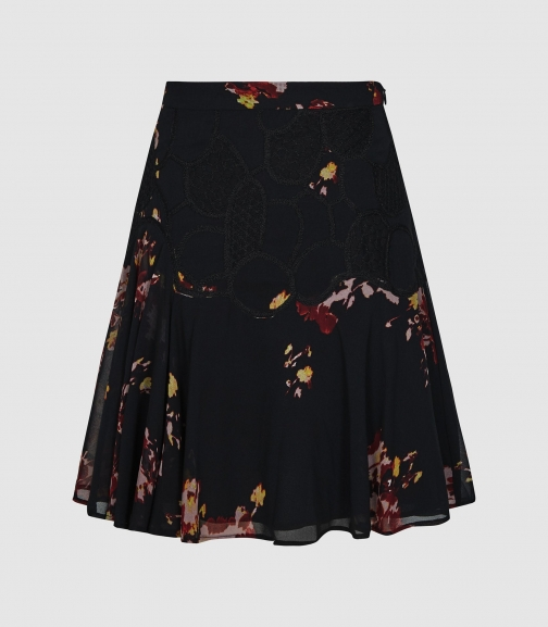 Reiss Maeja - Floral With Lace Detailing Black, Womens, Size 4 Mini Skirt