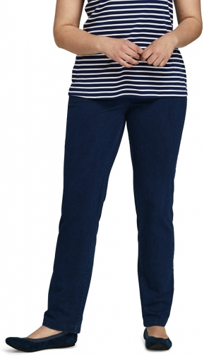 Lands' End Women's Plus Size Starfish Elastic Waist Knit Straight Leg Mid Rise - Lands' End - Blue - 1X Jeans