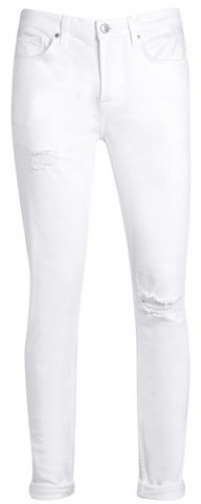 Topman Mens White Ripped Stretch , White Skinny Jeans