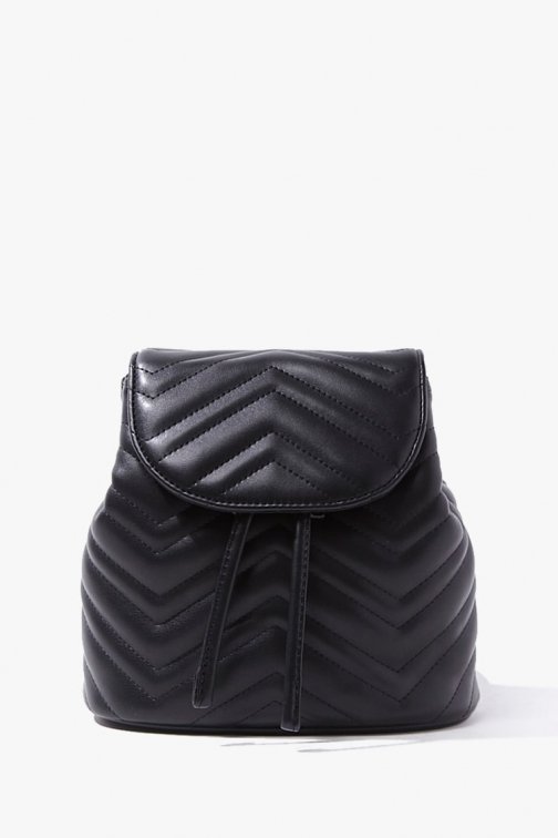 Forever21 Forever 21 Faux Leather Chevron , Black Backpack