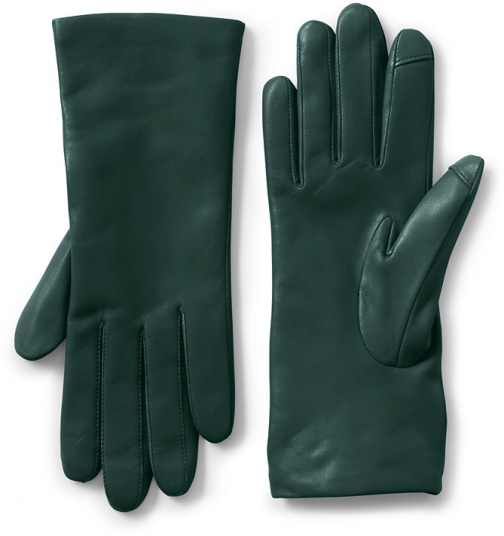 Lands' End Women's EZ Touch Screen Cashmere Lined Leather - Lands' End - Green - S Glove