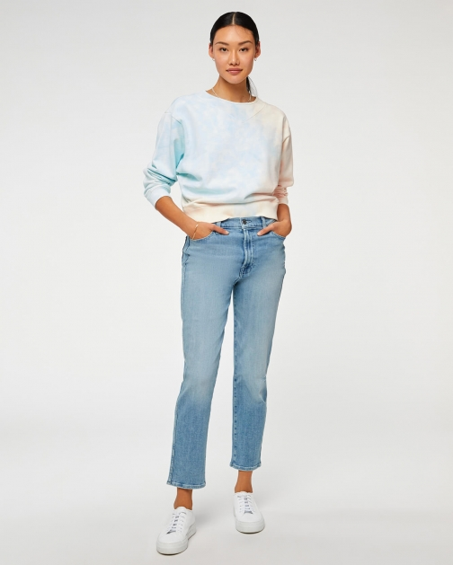 """7 For All Mankind Womens High Waist Cropped Straight With Patched """"A"""" Pocket Hope Blue Size: 29 Trouser"""