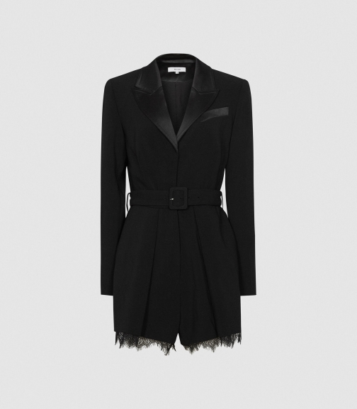 Reiss Lorelli - Lace Trim Black, Womens, Size 6 Playsuit
