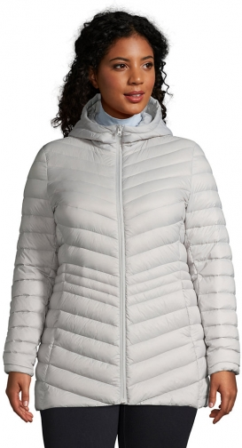 Lands' End Women's Plus Size Ultralight Packable Down With Hood - Lands' End - Gray - 1X Jacket