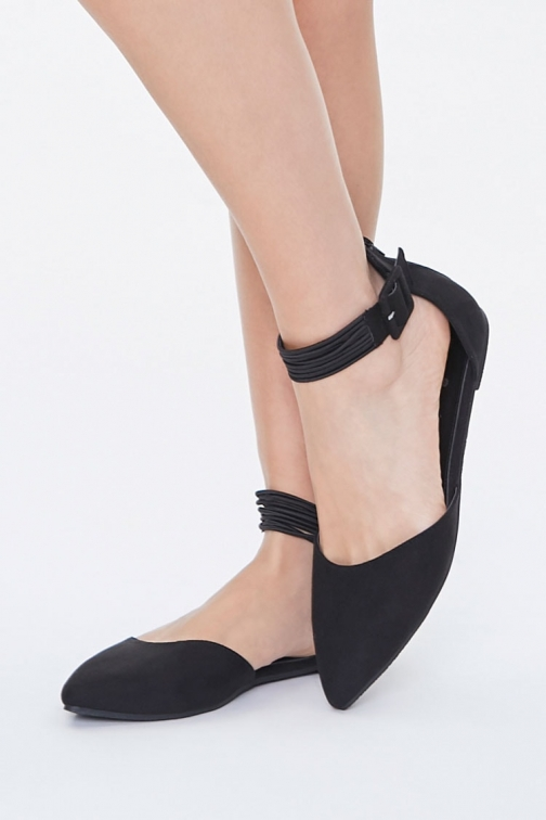 Forever21 Forever 21 Faux Suede Pointed , Black Flats