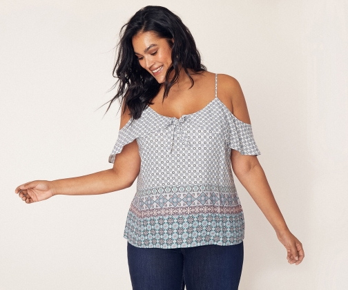 Oasis Curve Tile Patched Cami Top