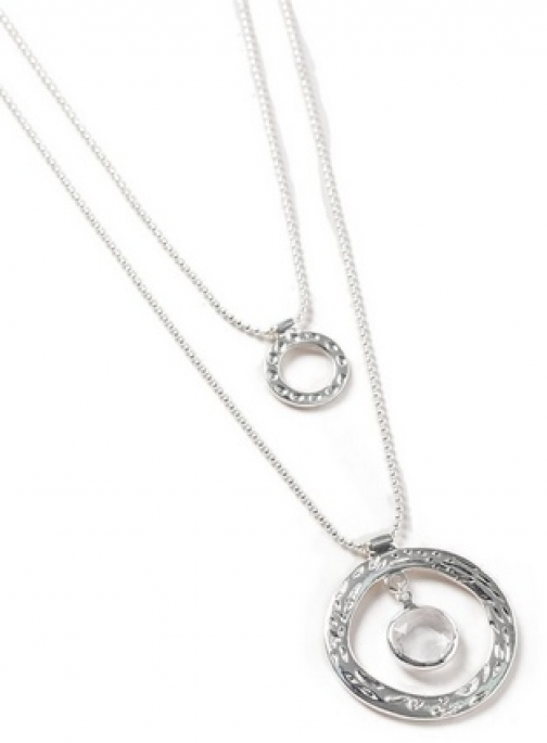 Dorothy Perkins Silver Circle Drop Necklace