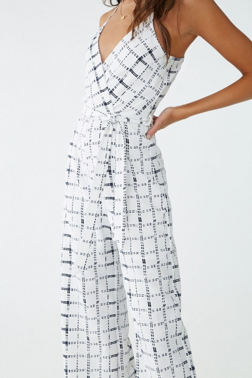 Forever21 Forever 21 Abstract Plaid Print , Ivory/black Jumpsuit