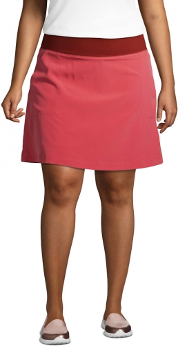 Lands' End Women's Plus Size High Rise Everyday Active - Lands' End - Red - 1X Skort