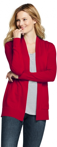 Lands' End Women's Cotton Long Sleeve Open Sweater - Lands' End - Red - XS Cardigan