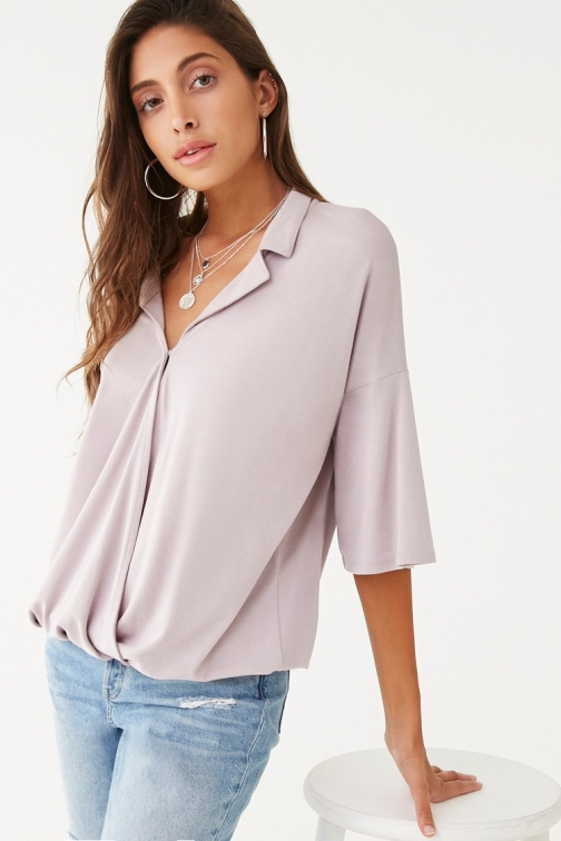 Forever21 Forever 21 Surplice Notched- Top , Lavender Collar
