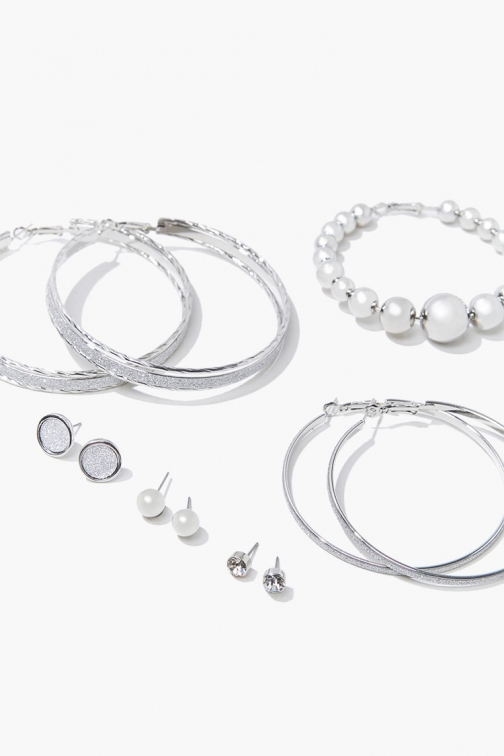 Forever21 Forever 21 Hoops & Studs Earring Set , Grey Jewellery