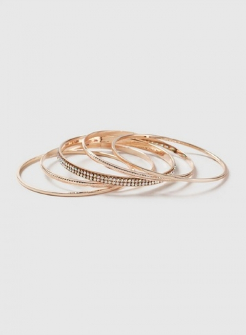 Dorothy Perkins Rose Gold Look Rhinestone Bangle Pack Bracelet