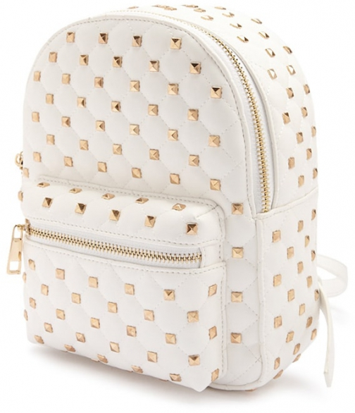 Forever21 Forever 21 Studded Faux Leather Cream Backpack