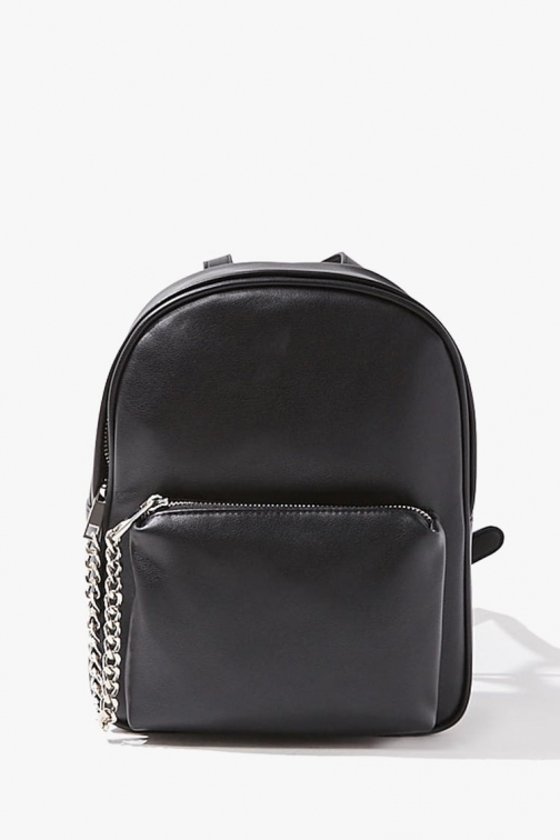 Forever21 Forever 21 Faux Leather Chain-Accent , Black Backpack