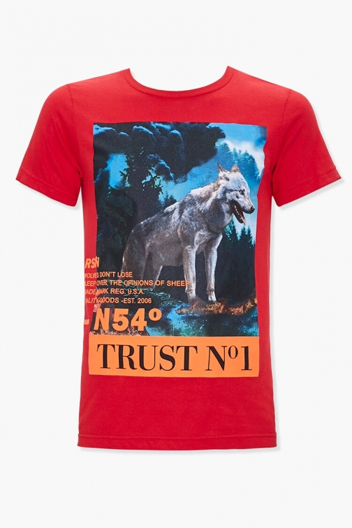 21 Men Reason Wolf Graphic Tee At Forever 21 , Red/multi T-Shirt
