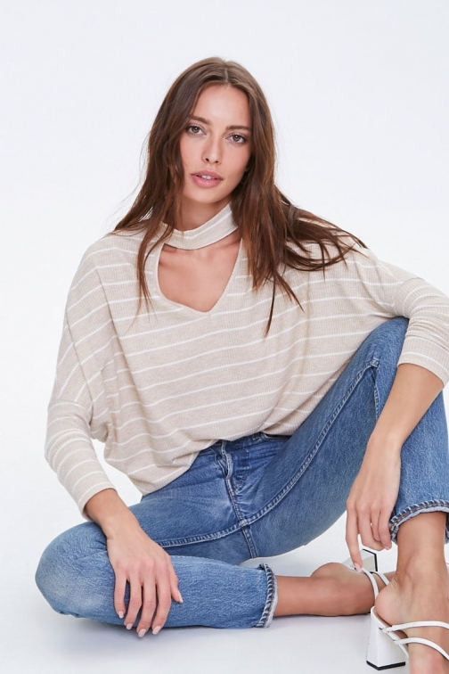 Forever21 Forever 21 Boxy Pinstriped Neck Top , Taupe/white Chokers