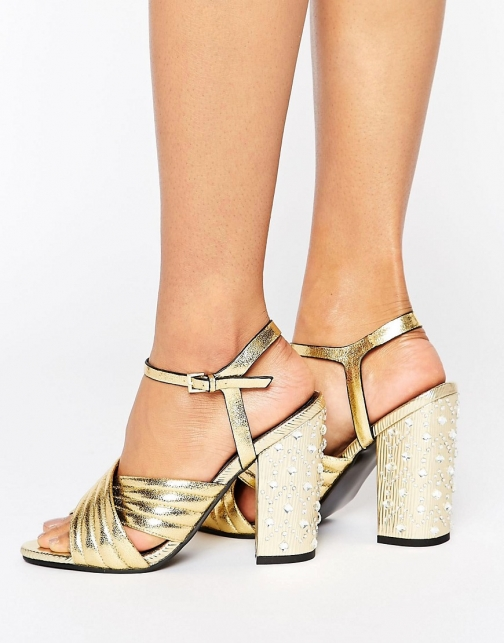 Miss Selfridge Gold Quilt Jewel Heel Sandal