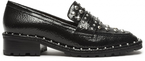 Schutz Shoes Allyson Studded Leather Loafer - 5 Black Crackled Leather Shoes