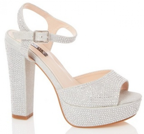 Quiz Shimmer Diamante Block Sandals