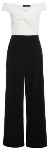 Quiz Black And White Knot Front Palazzo Jumpsuit