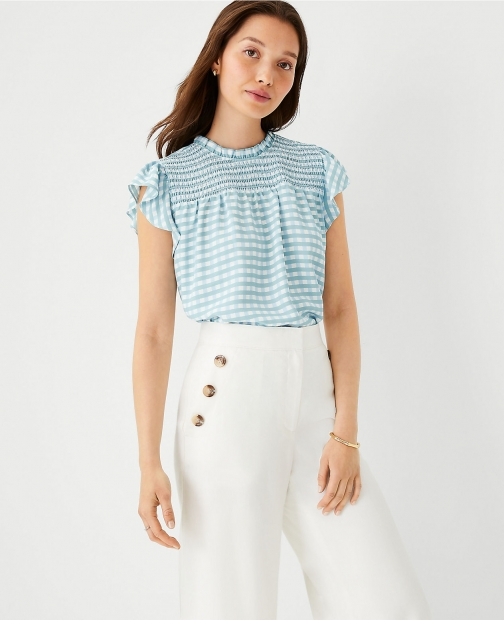 Ann Taylor Gingham Mixed Media Smocked Ruffle Shell Top