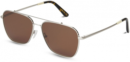 Toms Irwin 201 Silver Polarized With Solid Brown Lens Sunglasses