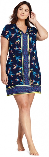 Lands' End Women's Plus Size V-Neck Short Sleeve With UV Protection Swim Cover-up Dress Print - Lands' End - Blue - 1X Swimwear