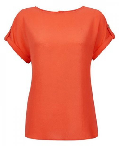 Dorothy Perkins Dark Coral Button T-Shirt