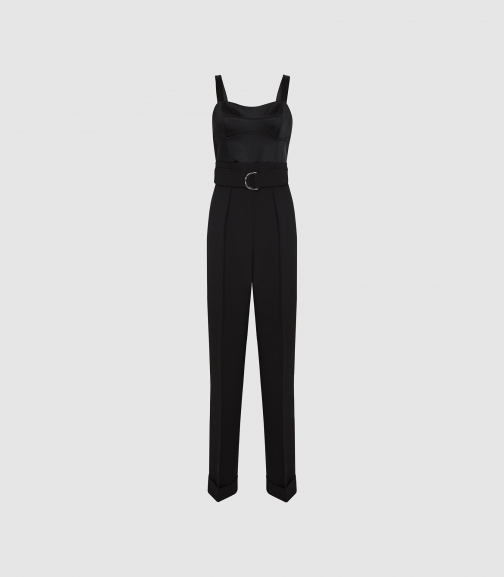 Reiss Natalia - With Structured Bodice Black, Womens, Size 8 Jumpsuit