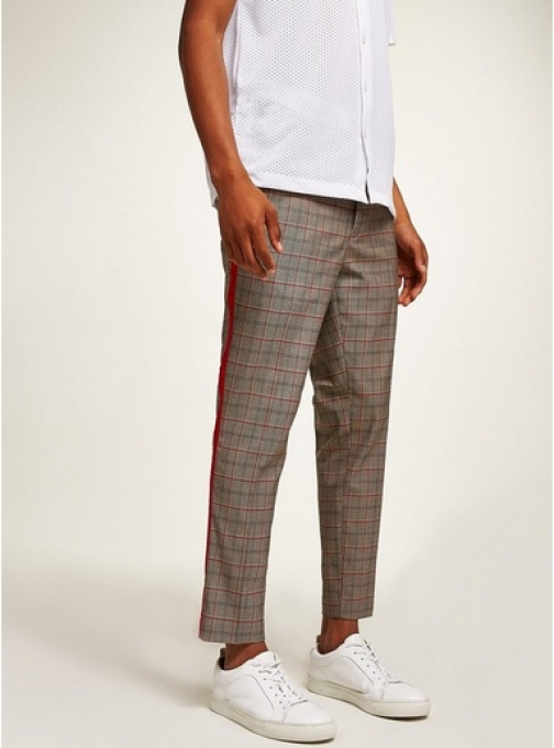 Topman Mens Beige Brown Check Smart Joggers With Red Side Taping, Beige Athletic Pant