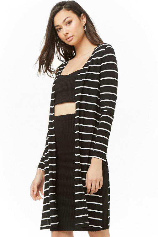 Forever21 Forever 21 Ribbed Striped Open-Front Black/cream Cardigan