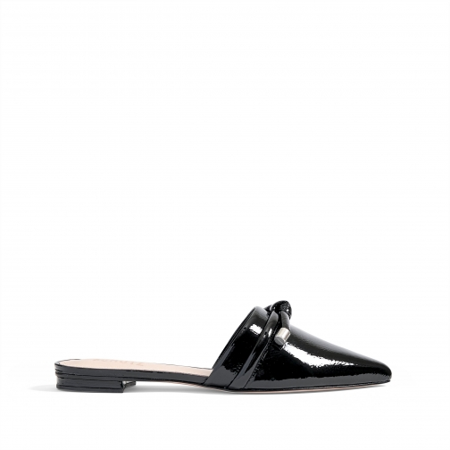 Schutz Shoes Lay Metallic Leather Mule - 5 Black Patent Leather Shoes