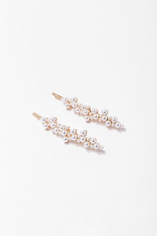 Forever21 Forever 21 Faux Pearl Bobby Set , Cream/gold Pin