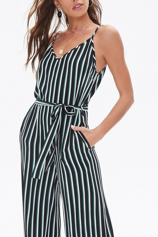 Forever21 Forever 21 Belted Striped , Black/green Jumpsuit