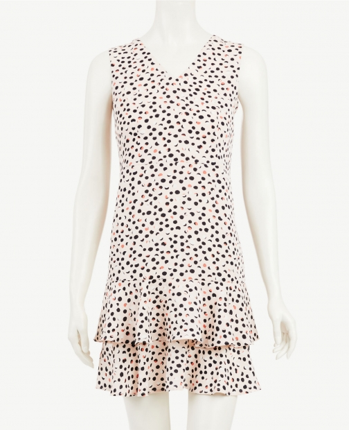 Ann Taylor Dotted Fluted Sheath Dress