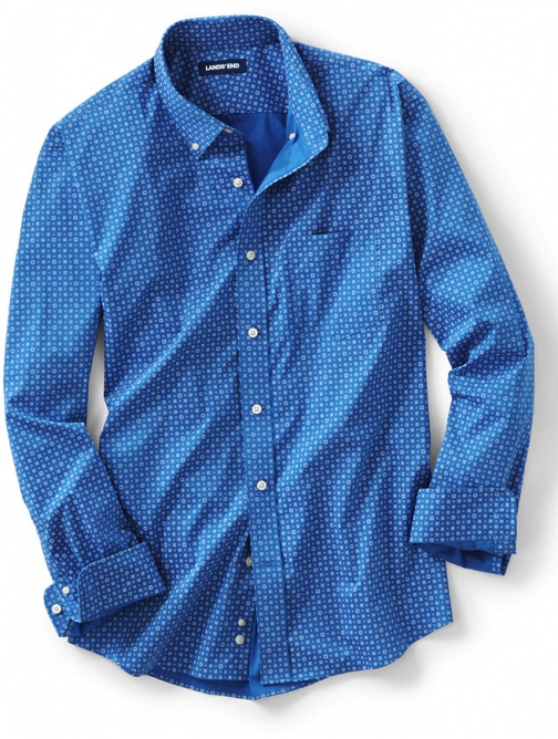 Lands' End Men's Traditional Fit Comfort-First With Coolmax Printed - Lands' End - Blue - M Shirt