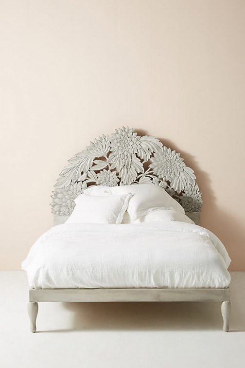 Anthropologie Carved Treescape Bed - Beige, Size Eu King Accessorie