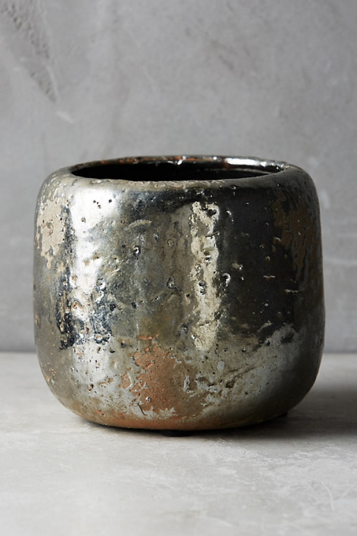 Anthropologie Metallic Crackle Herb Pot IGNORE