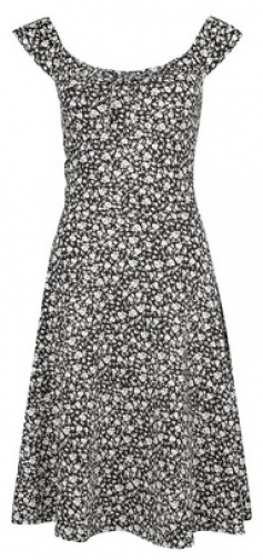Dorothy Perkins Tall Black Ditsy Print Ruched Strappy Skater Dress