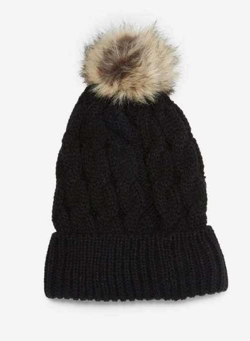 Dorothy Perkins Womens Black Cable Knit Pom - Black, Black Hat