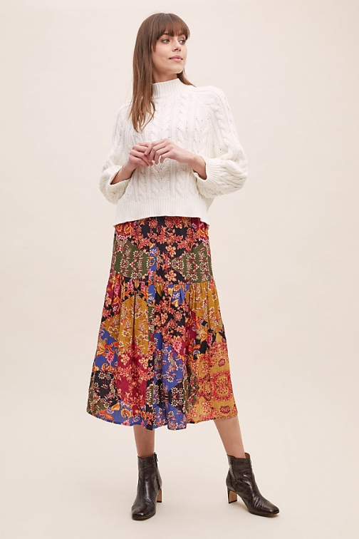 Kachel Diarra Mixed-Print Tiered Skirt