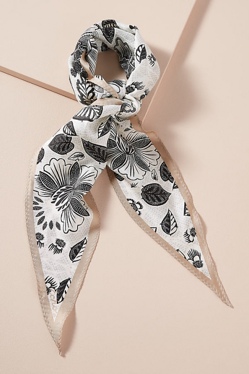 Anthropologie Botanical-Print Silk Neck Scarf